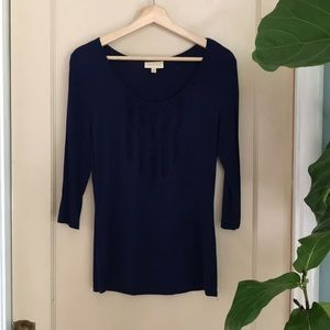 ModCloth 3/4 sleeve top with ruffle detail